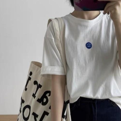可愛い シンプル カジュアル ラウンドネック 半袖 スマイル Tシャツ・トップス