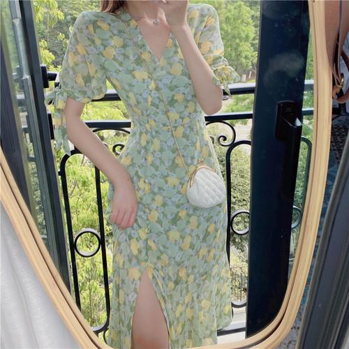 【dress】着回し力抜群スウィートVネック清新人気デザイン花柄ワンピース