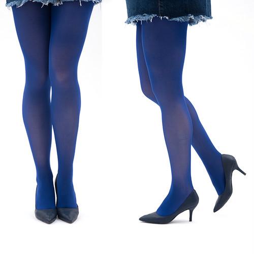 カラータイツ ブルー  青 マリン  ネイビー 紺 80デニール マチ付き ゾッキ編み 発色きれい レディースタイツ M-Lサイズ コスプレ メール便 zokket518-34