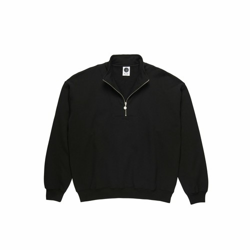 POLAR SKATE CO (ポーラー) / ZIP NECK SWEATSHIRT -BLACK-