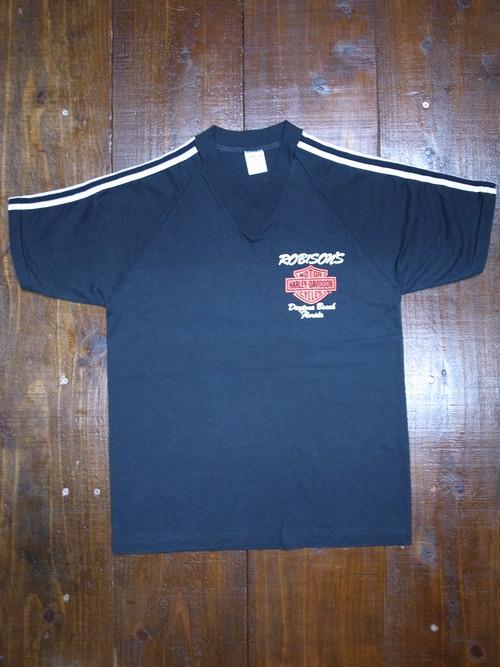 80's JERZEES Harley-Davidson ROBISON Vネック T-Shirts(黒)DEAD STOCK ⑫ ショルダーライン入り