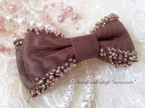 キラキラビーズ刺繍モアレダブルりぼん/brown