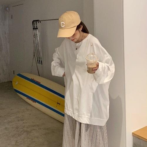 【トップス】韓国系長袖着痩せシンプルドルマンスリーブベージック無地パーカー22806691