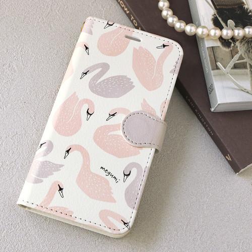 【名入れ可能】 iPhone 手帳型スマホケース【Swan】iPhone5/5s/SE/6/6s/7/8/X/XS