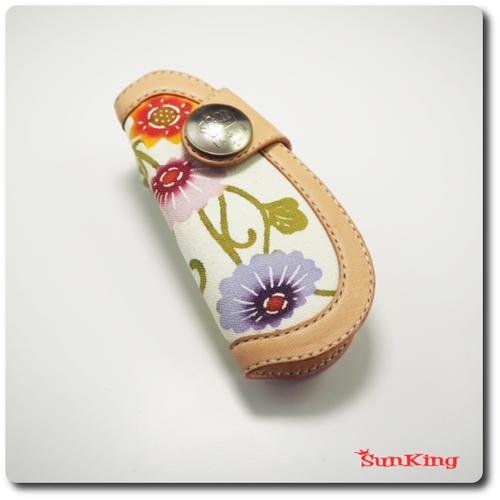 ドロップキーケース 琉球紅型 昭南皮革 ヌメ革