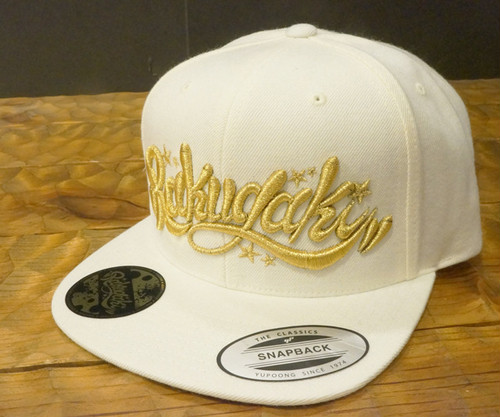 RAKUGAKI Main logo Snap Back Cap White x Gold