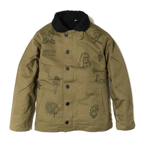 """DUCKTAIL CLOTHING N-1 DECK JACKET """"LAUGH AND """"GLOW"""" FAT"""" KHAKI ダックテイル クロージング N-1 デッキジャケット"""