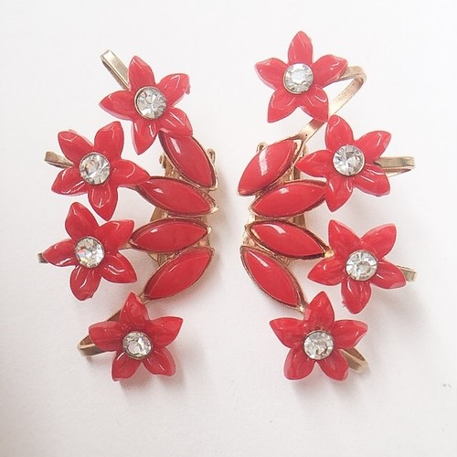 red flower earring[e-978]