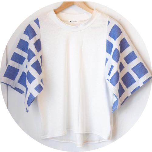 【スクエアスリーブTee】播州織リバーシブルJQ[cross yarn]/ブルー/original textile