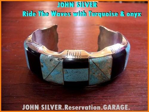 【JOHN SILVER】ジョンシルバー/シルバー/バングル/ride the waves/with turquoise & onyx