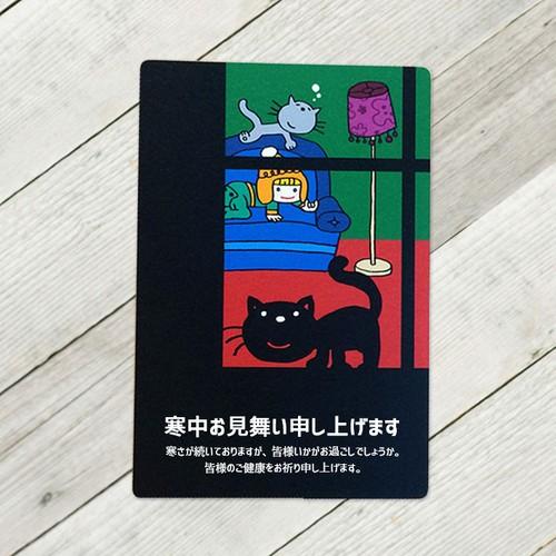 窓際の黒猫オーダーポストカード