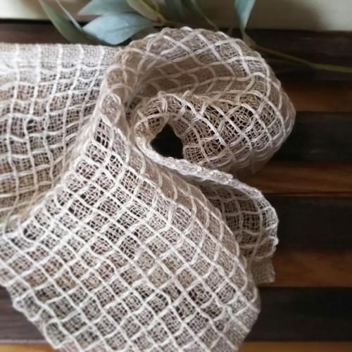 手織りリネンワッフル織りハンカチ~白