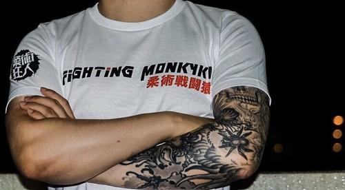 柔術狂人 X Fighting Monkyky Tシャツ ナショナルシリーズ JPN(白)