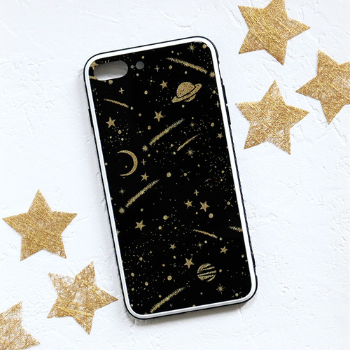 iPhone ガラス スマホケース【shooting star】 XS Max/8plus/7plus