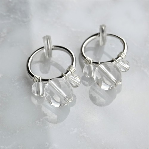 送料無料SV925SF*Crystal Quartz bubble wrapped pierced earring / earring M