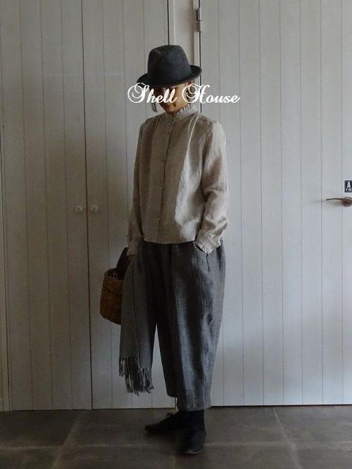 301-C パンツ リネン グレーヘリンボーン