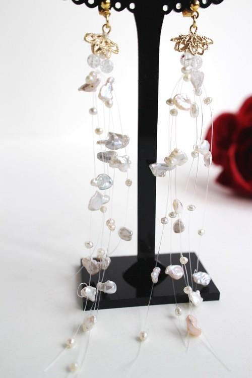 けし淡水真珠のフローティングピアス(ノンホールピアス有り)