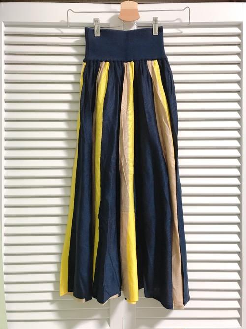 ストライプの配色スカート ネイビー×ベージュ×イエロー
