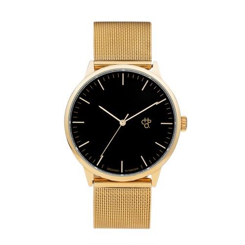 NANDO GOLD【CHPO】 Black dial. Metal mesh wristband