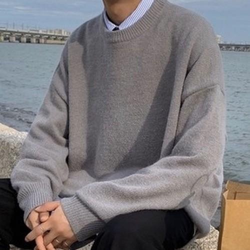 [韓国メンズファッション] 41900792 ルーズニットセーター ニット セーター 淡い色 おしゃれ 重ね着 シンプル ビックシルエット 大きめサイズ  丸首