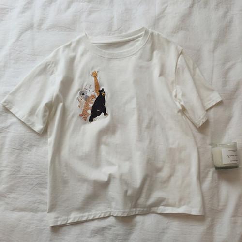 綺麗系服  ファンアート  カジュアル  刺繍  ラウンドネック  半袖  Tシャツ・トップス