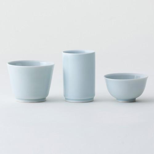 陶宋窯【地酒三杯】青白磁(3点セット)