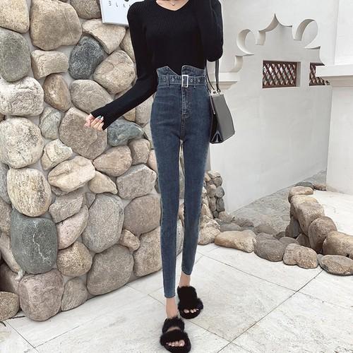 「ボトムス」ワンランクファッションハイウエストスリム2色デニムパンツ