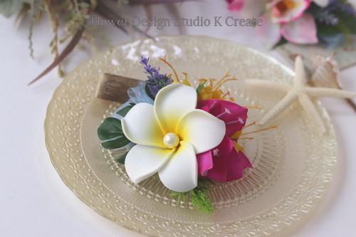 白いプルメリアとシンビジュームのヘアクリップ 髪飾り トロピカル 造花 南国 フラ フラダンス