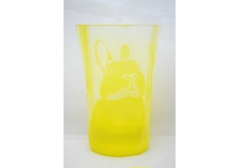 うさぎガラス工房moko タンブラー(黄)たれ耳