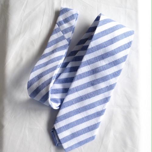 マエムキタオルネクタイ Blue stripe