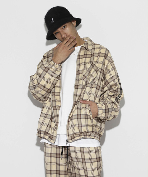 Over Sized TR Check Blouson [Beige]