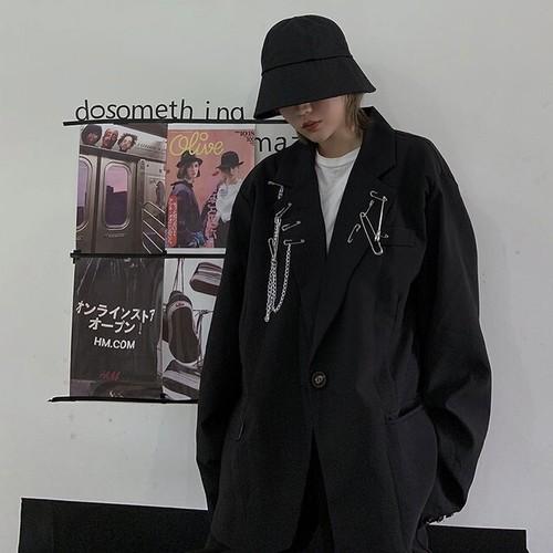 ジャケット シングルブレスト メタル アクセサリー ゴシック系 オルチャン