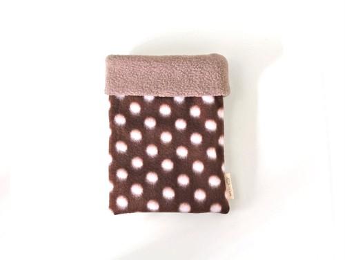 ハリネズミ用寝袋 S(冬用) フリース×フリース 水玉 チョコレート
