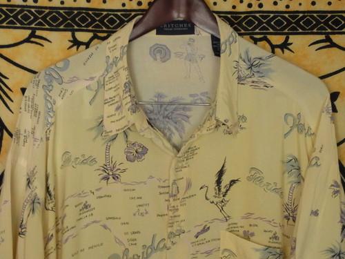 USA古着アロハシャツL黄色BRITCHESヤシの木カジキ柄RAYON良好