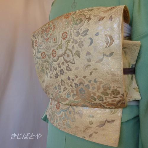 正絹 クリーム色に華文の袋帯