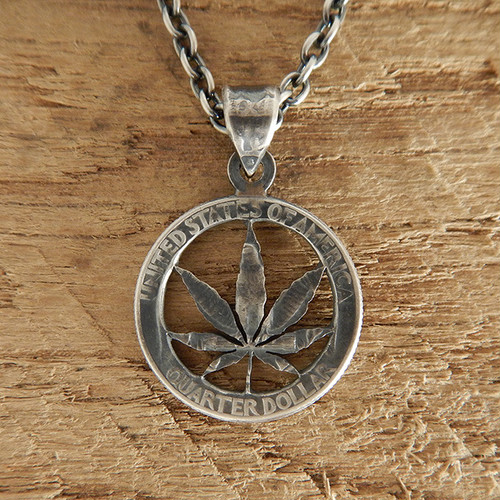 【受注生産】MARIJUANA CUTCOIN PENDANT 25¢【WASHINGTON QUARTER DOLLAR】