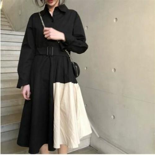 ワンピースドレス Aライン シャツデザイン バイカラー モノトーン ベルト付き 膝下丈 ミディ丈 ふんわり 大人可愛い ブラック