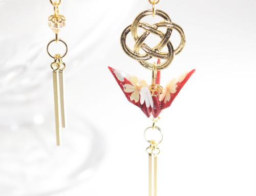 桜螺鈿折り鶴ホワイトxレッド