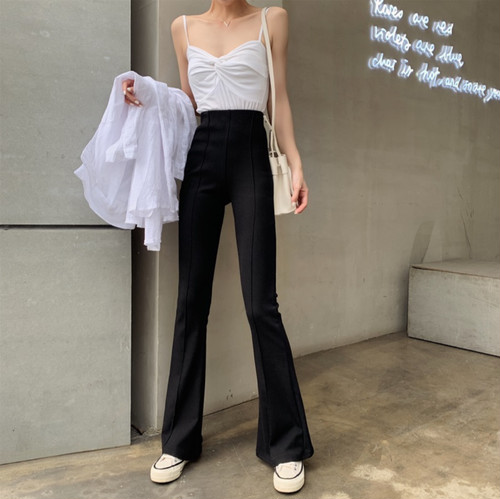 high waist  casual pants 2color