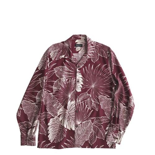 Mountain 長袖オープンアロハシャツ / Leaves  / マルーン