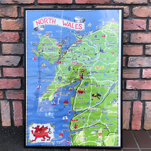 1970s North Wales Tea Towel & Frame