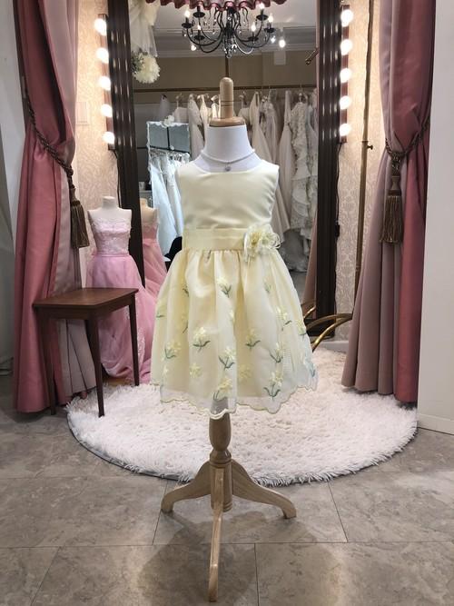 お姫様 ドレス 100㎝ 花柄 オーガンジー ノースリーブ ワンピース レモンイエロー