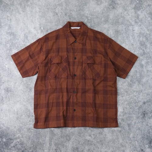 【MANUAL ALPHABET】S/S BRITISH CHECK WORK SHIRT (BROWN) マニュアルアルファベット 半袖シャツ ワークシャツ ブリティッシュチェック MADE IN JAPAN