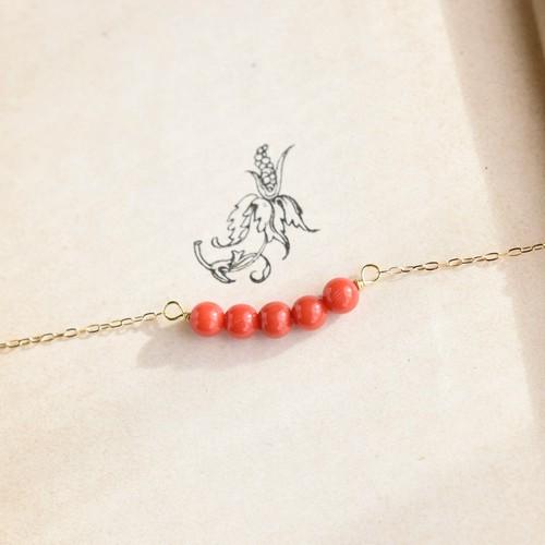【K18 ネックレス】特別な天然色の本赤珊瑚