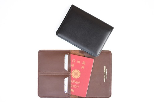 【HERITAGE LEATHER CO.】LEATHER PASSPORT CASE - BROWN