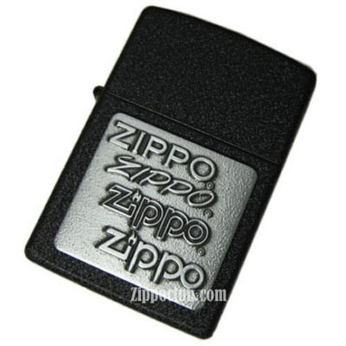 ブラック・クラッケル・ウィズ・ピューターエンブレム - Zippo Black Crackle w/Pewter Emblem