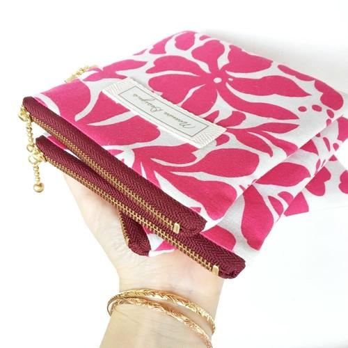 ピンク・トロピカルフラワー|リネンのポーチ (SSサイズ / キーや小銭、リップスティックなど♪)