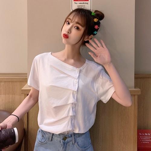 【トップス】春夏韓国風カジュアル無地個性シングルブレスト半袖Tシャツ