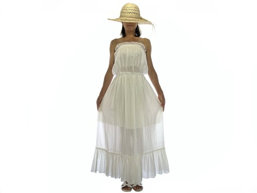 Cotton gauze ベアトップロングワンピース #natural white