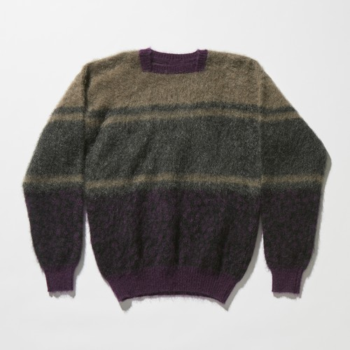 【FILL THE BILL】《UNISEX》LEOPARD BORDER MOHAIR KNIT - BROWN×PURPLE